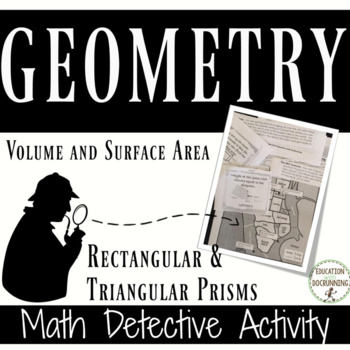 Volume and Surface Area of prisms Math Detective Activity UPDATED