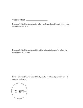 Volume and Surface Area of a Sphere