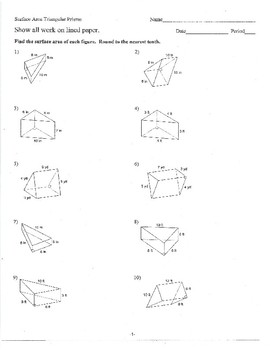 Volume and Surface of Triangular Prisms with Worked Out Solutions Practice