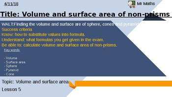 Volume and surface area of spheres, cones and pyramids