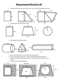 Volume, area and perimeter math worksheet