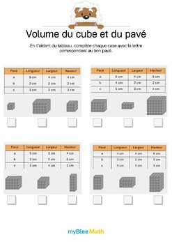 Volume du cube et du pavé 2 -Trouver la bonne figure grâce à des données