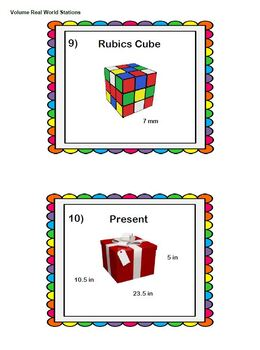 Volume in the Real World Math on Move Activity Stations Task Cards Around Room