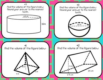 Volume of 3-D Figures Task Cards