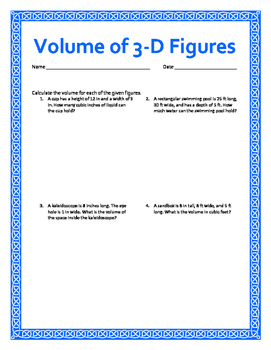 Volume of 3-D Figures w/ Answer Keys