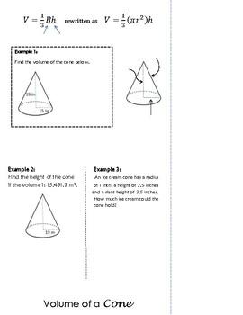 Volume of 3-Dimensional Figures Flip Book