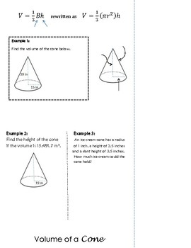 Volume of 3-Dimensional Figures Flip Book