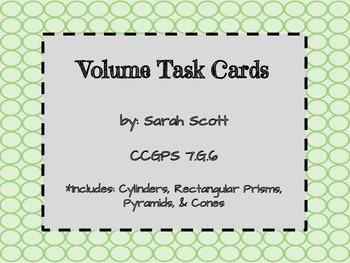 Volume of 3D Figures Task Cards