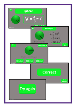 Volume of 3D Shapes Paperless Interactive PDF, Middle and High School Math