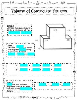 Volume of Composite Figures - Differentiated Notes - Math Centers