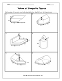 Volume of Composite Figures Worksheet