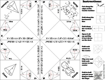 Volume of Cones Practice Activity (Scoot Unit Review Game)