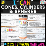 8th Grade Volume of Cones Cylinders & Spheres Game 8th Gra