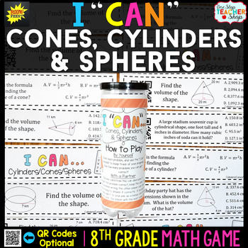 8th Grade Volume of Cones, Cylinders and Spheres Game