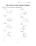 Volume of Cones, Cylinders and Spheres Test or Worksheet with Word Problems