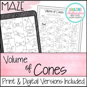 Volume of Cones Maze by Amazing Mathematics | Teachers Pay ...