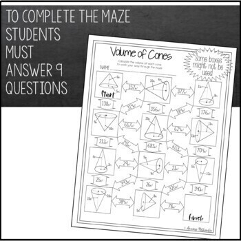 Volume of Cones Maze