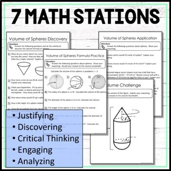 Volume of Cones and Spheres Math Stations  :  Middle School Math Stations