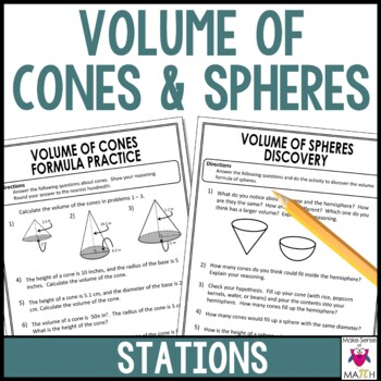 Volume of Cones, Volume of Spheres, Middle School Math Stations