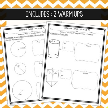 Volume of Cones ~ Warm Up, Notes, & Homework