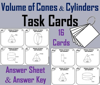 Volume of Cones and Cylinders Task Cards