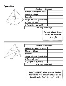 Volume of Cones and Pyramids Guided Student Notes