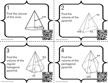 Volume of Cones and Pyramids Task Cards