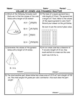 Volume of Cones and Pyramids Word Problem Practice PLUS Spiral Review