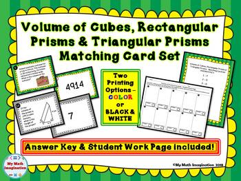 Volume of Cubes, Rectangular Prisms & Triangular Prisms Matching Card Set