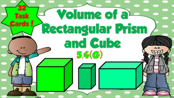 Volume of Cubes and Rectangular Prism Task Cards- TEKS 5.4G