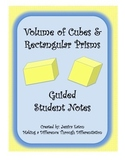 Volume of Cubes and Rectangular Prisms Guided Student Notes With Key