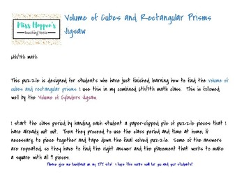 Volume of Cubes and Rectangular Prisms Jigsaw