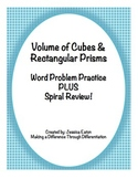 Volume of Cubes and Rectangular Prisms Word Problem Practice PLUS Spiral Review