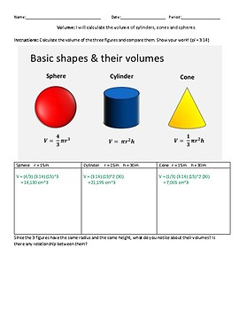Volume of Cylinder, Cone and Sphere.