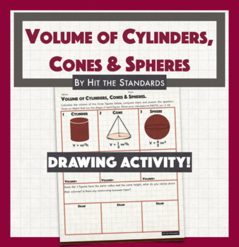 Volume of Cylinders, Cones and Spheres Drawing activity