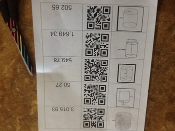 Volume of Cylinder QR Match