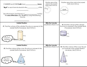 Volume of Cylinders & Cones Foldable | Notes