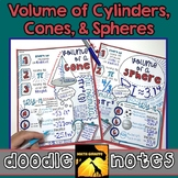 Volume of Cylinders, Cones, & Spheres Doodle Notes