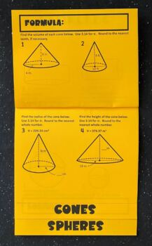 Volume of Cylinders, Cones, & Spheres (Foldable!)