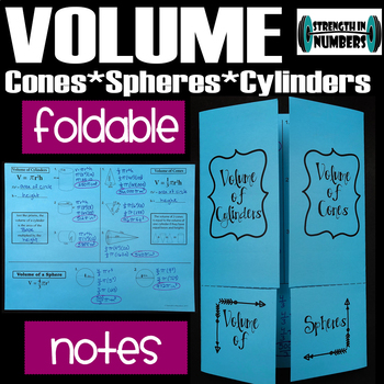 Volume of Cylinders, Cones, Spheres Foldable Notes Interactive Notebook