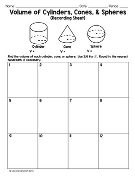 Volume of Cylinders, Cones, & Spheres (PI Puzzle)