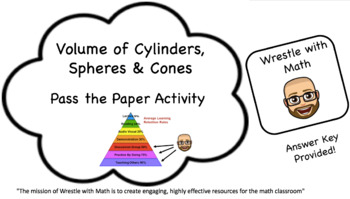 Volume of Cylinders, Cones & Spheres – Pass the Paper Activity