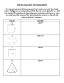 Volume of Cylinders, Cones, & Spheres Scavenger Hunt