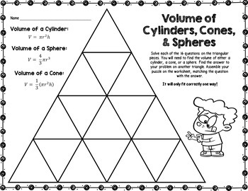 Volume of Cylinders, Cones, & Spheres Tarsia Puzzle