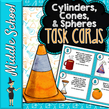 Volume of Cylinders, Cones, & Spheres Task Cards