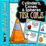 Volume of Cylinders, Cones, & Spheres Task Cards