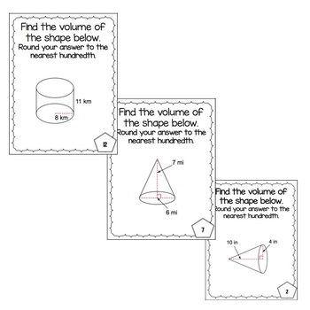 Volume of Cylinders & Cones Task Cards