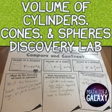 Volume of Cylinders Spheres and Cones Activity: Discovery Lab