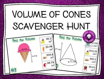 Volume of Cones Activity - Scavenger Hunt