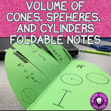 Volume of Cylinders Cones and Spheres Foldable Notes